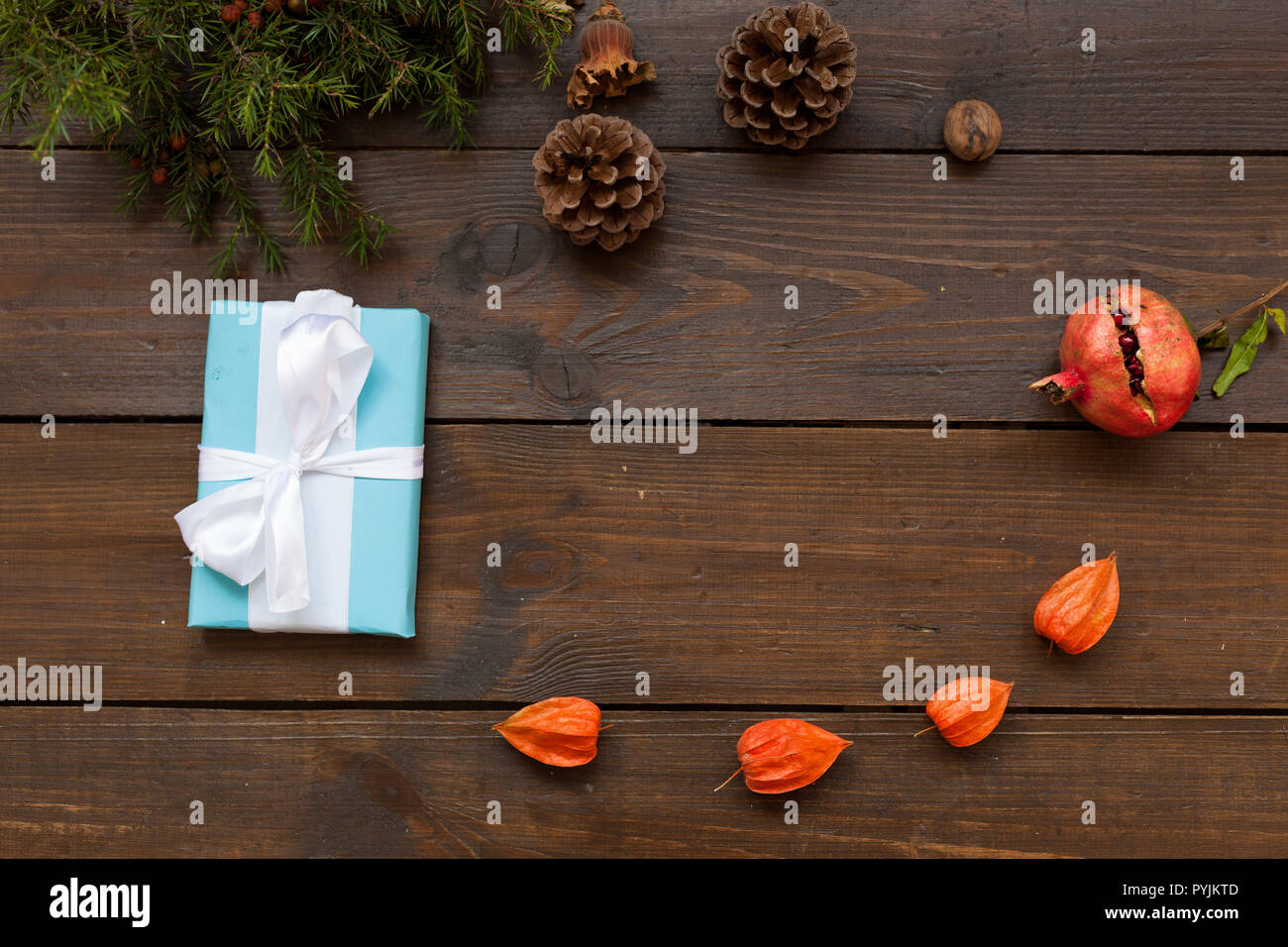 Christmas background with gifts and Christmas tree tea cup fruit ...