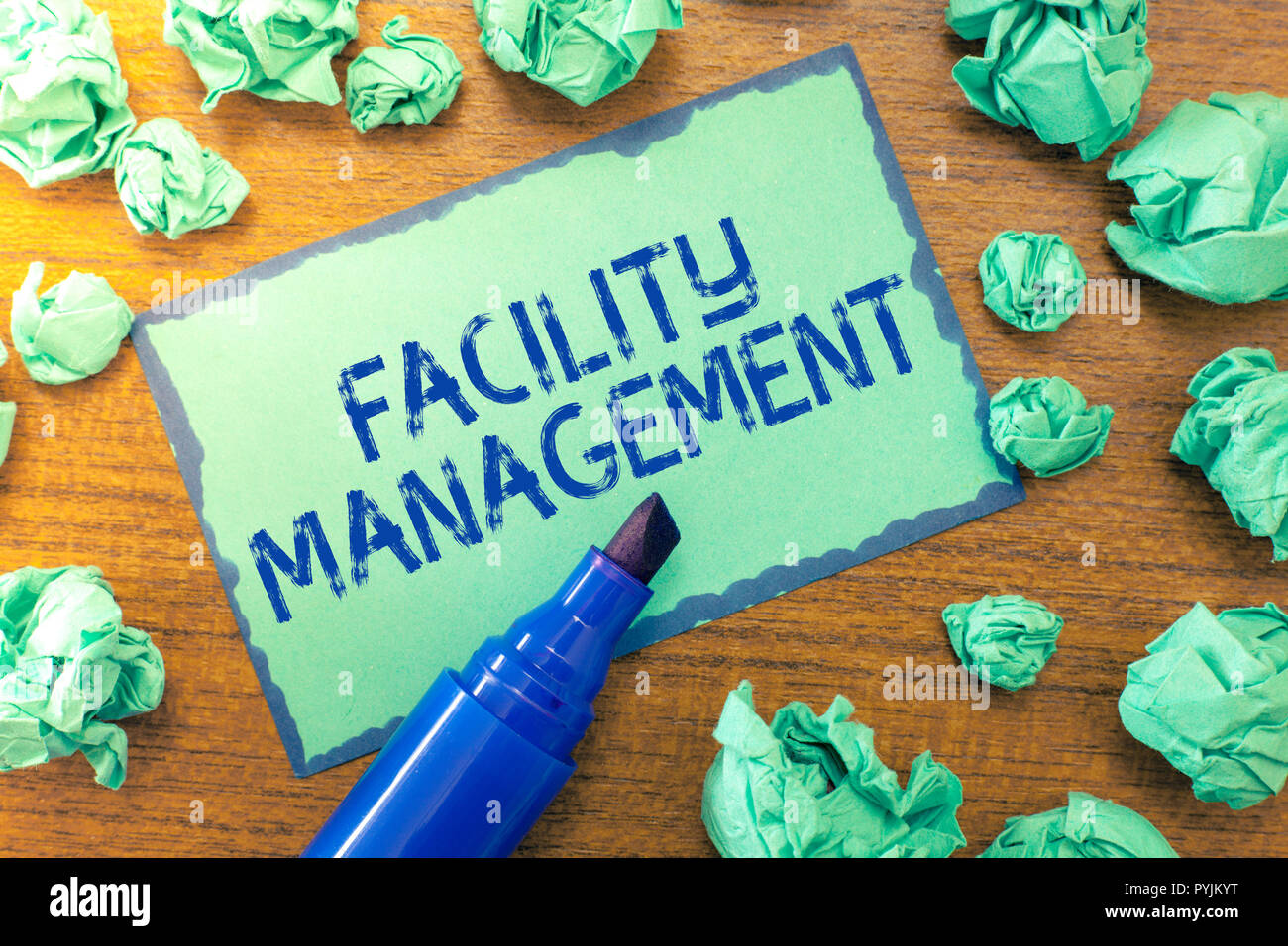 Handwriting text Facility Management. Concept meaning Multiple Function Discipline Environmental Maintenance. - Stock Image