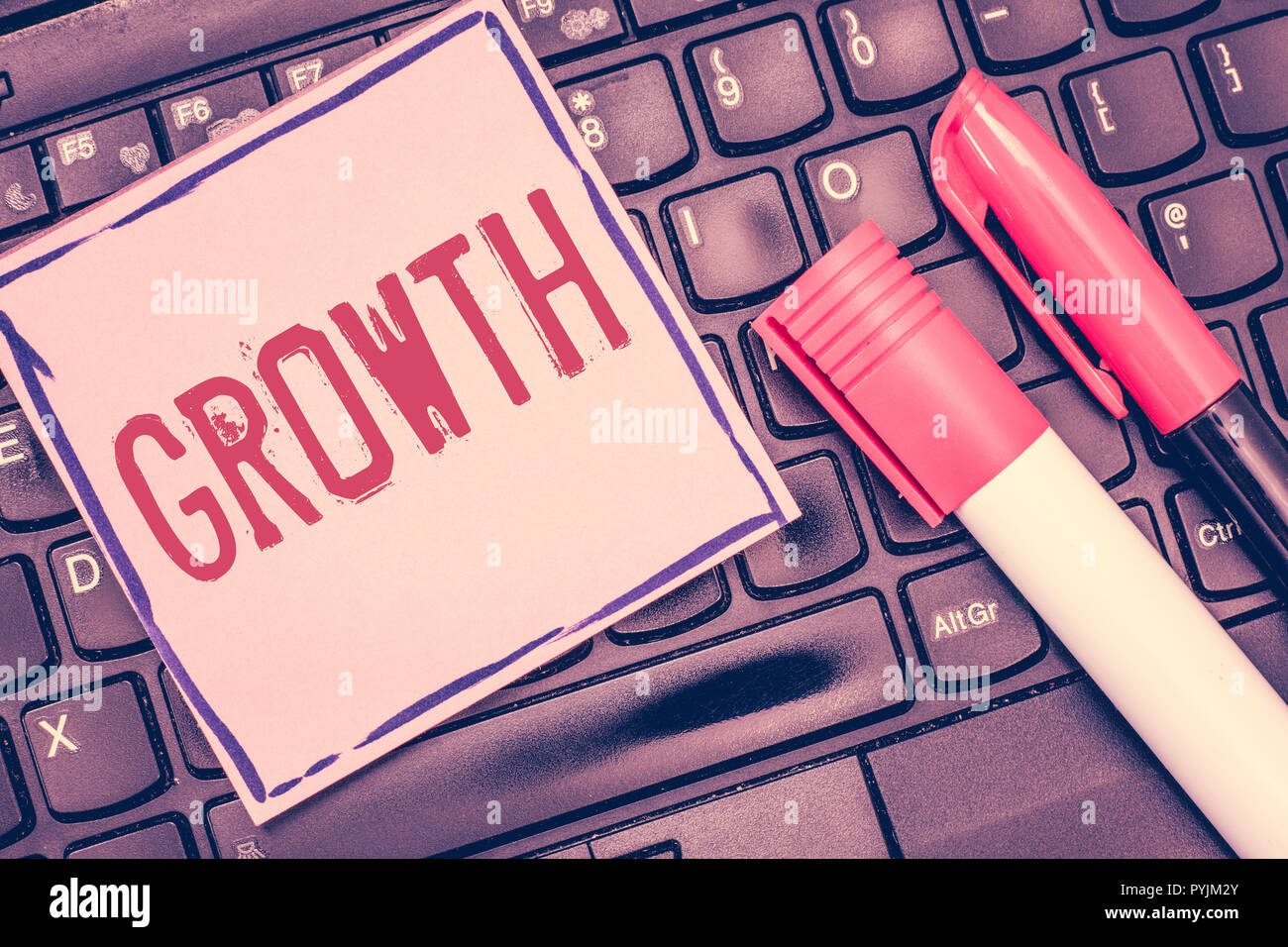 Word writing text Growth. Business concept for process of increasing in size or juice Getting older Ageing. - Stock Image