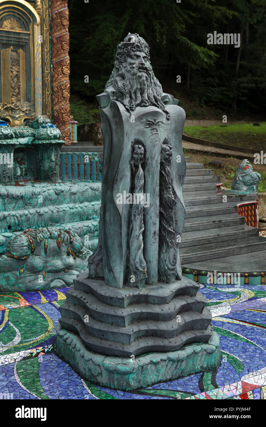 Mosesbrunnen (Moses Fountain) designed by Austrian artist Ernst Fuchs (1992-1996) in the garden of the Ernst Fuchs Museum in Vienna, Austria. The museum is housed in the former Wagner Villa I designed by Austrian modernist architect Otto Wagner and built in 1886-1888 in Hütteldorf district. The building was acquired and rebuilt by Ernst Fuchs in the 1970s and later. - Stock Image