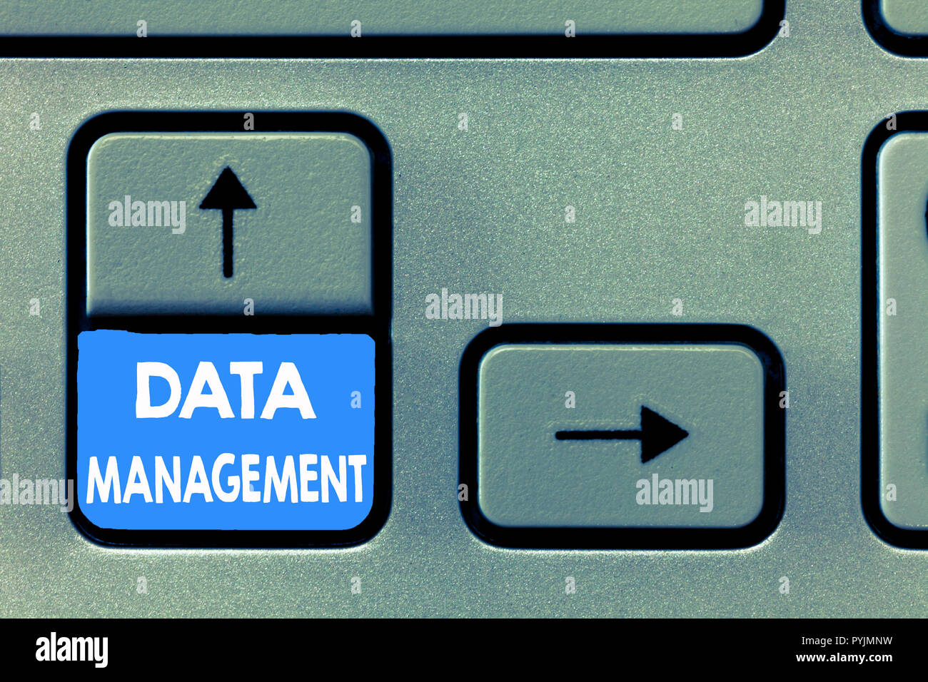 Writing note showing Data Management. Business photo showcasing The practice of organizing and maintaining data processes. - Stock Image