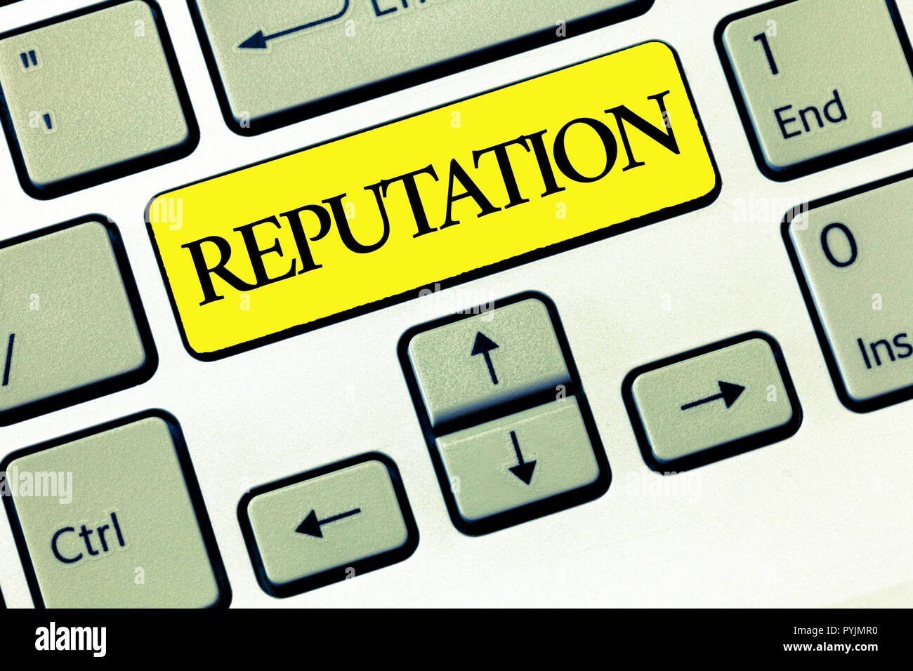 Conceptual hand writing showing Reputation. Business photo text Beliefs Opinions that are generally held about someone something. - Stock Image