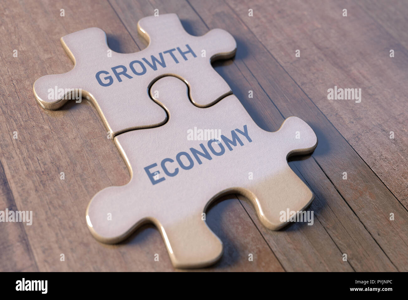 Concept image of economy and growth using parts of a puzzle. Teamwork and good relations in the economy. Stock Photo