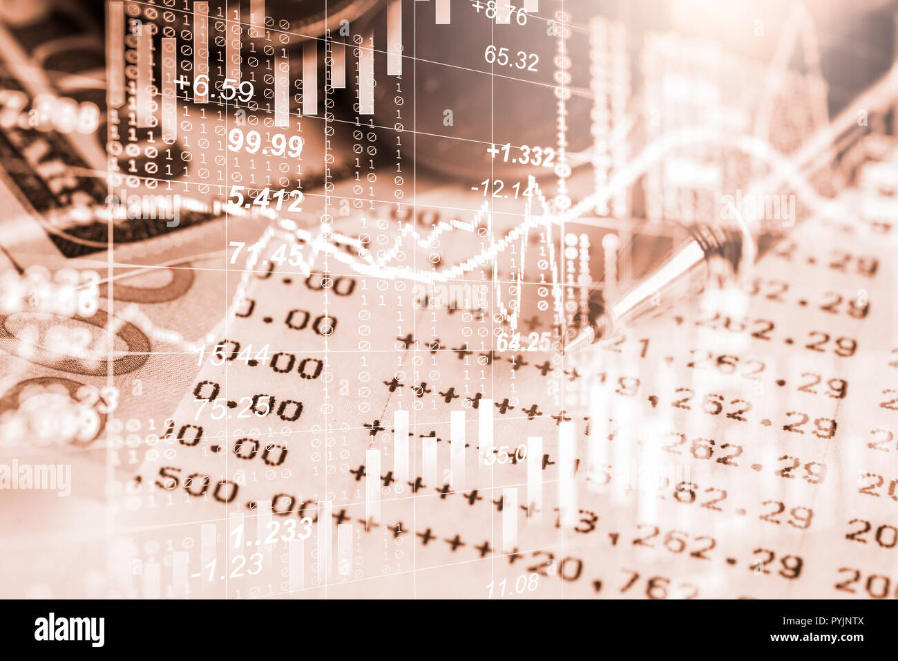 Stock market or forex trading graph and candlestick chart suitable for financial investment concept. Economy trends background for business idea and a - Stock Image