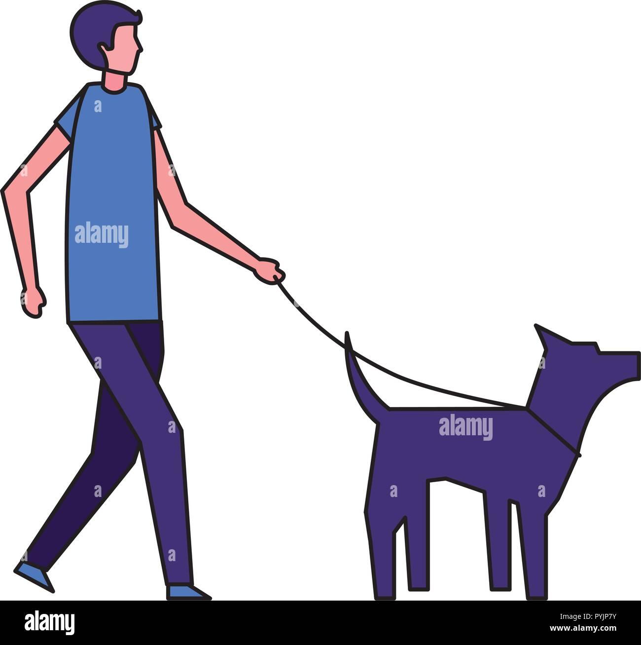 man walking with her pet dog - Stock Image