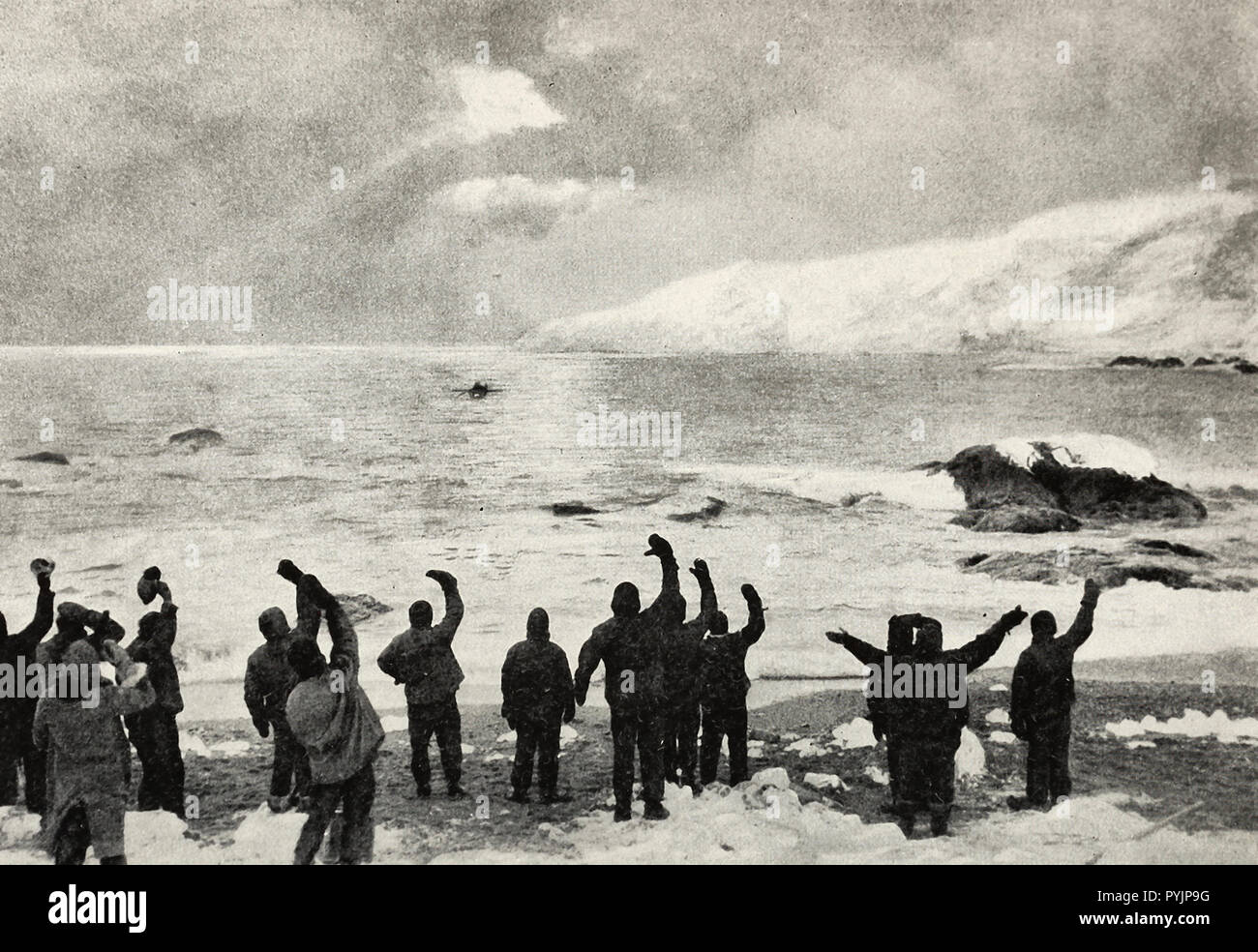 The Chilean Trawler Yelcho dropped a boat which headed for shore to pick up the survivors of the Shackleton Expedition - Stock Image