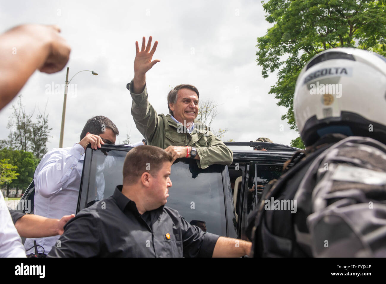 Rio De Janeiro, Brazil. 28th Oct, 2018. Jair Bolsonaro at the exit of the voting station in the second round, in Rio de Janeiro. Credit: Cristiane Mota/FotoArena/Alamy Live News - Stock Image