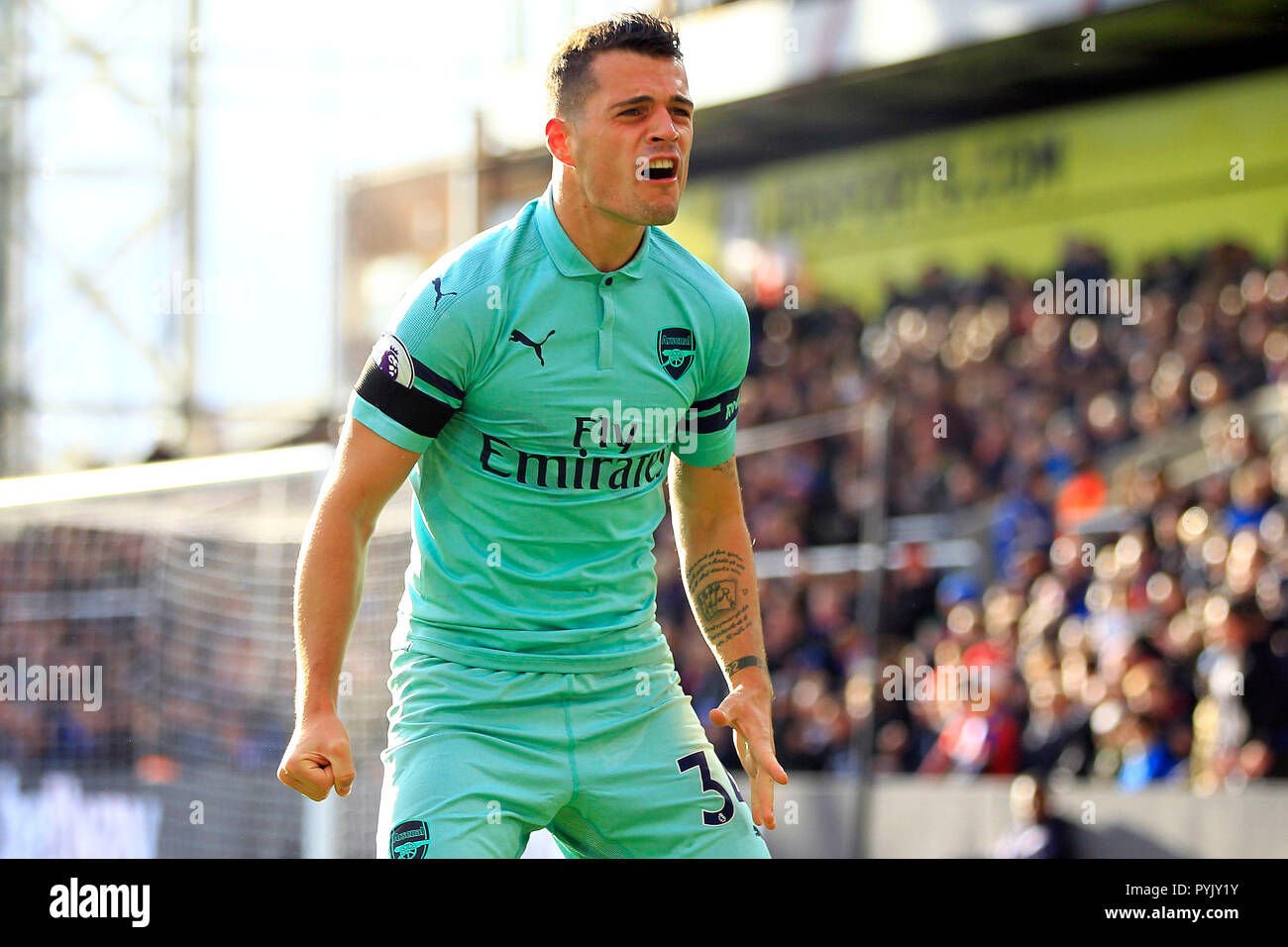 London, UK. 28th Oct, 2018. Granit Xhaka of Arsenal celebrates after his teammate Pierre-Emerick Aubameyang scores Arsenal's second goal. Premier League match, Crystal Palace v Arsenal at Selhurst Park in London on Sunday 28th October 2018.  this image may only be used for Editorial purposes. Editorial use only, license required for commercial use. No use in betting, games or a single club/league/player publications. pic by Steffan Bowen/Andrew Orchard sports photography/Alamy Live news Credit: Andrew Orchard sports photography/Alamy Live News - Stock Image