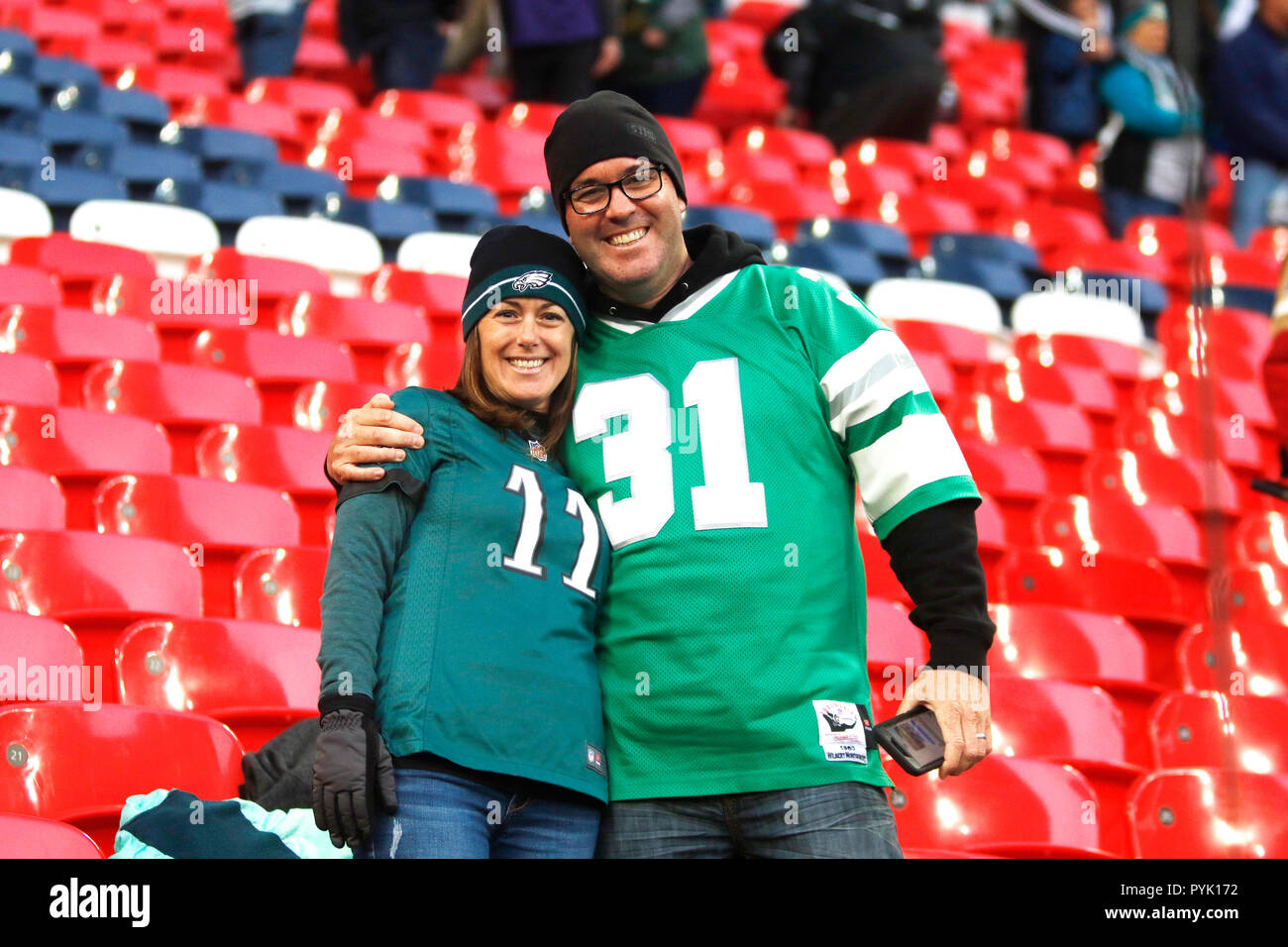 London, UK. 28 October 2018.   Fans  at the Eagles at Jaguars - credit Glamourstock Credit: glamourstock/Alamy Live News - Stock Image