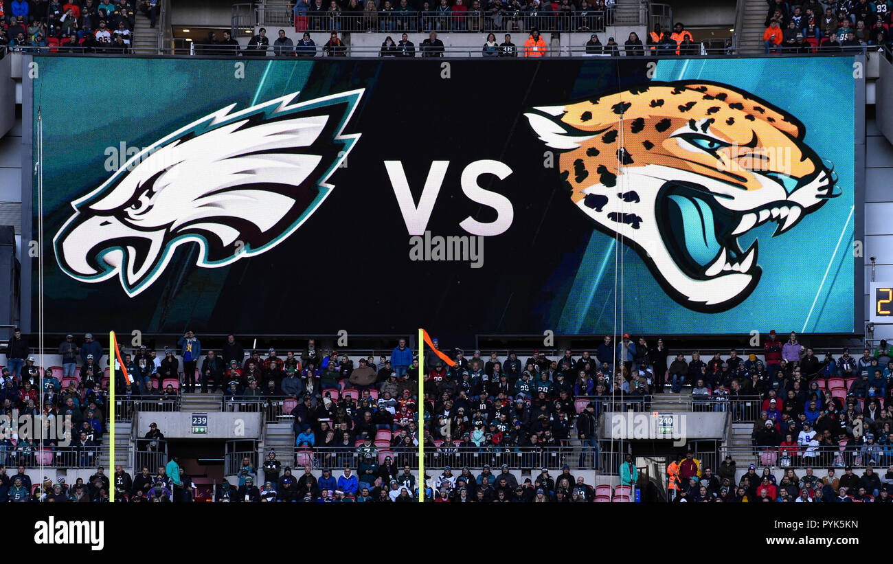 London, UK.  28 October 2018.  Philadelphia Eagles at Jacksonville Jaguars NFL game at Wembley Stadium, the final game in the NFL London 2018 series. Final score: Eagles 24 Jaguars 18. Credit: Stephen Chung / Alamy Live News Stock Photo