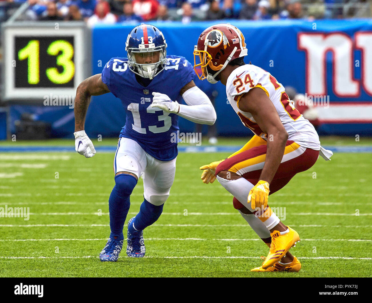 East Rutherford, New Jersey, USA. 28th Oct, 2018. New York Giants