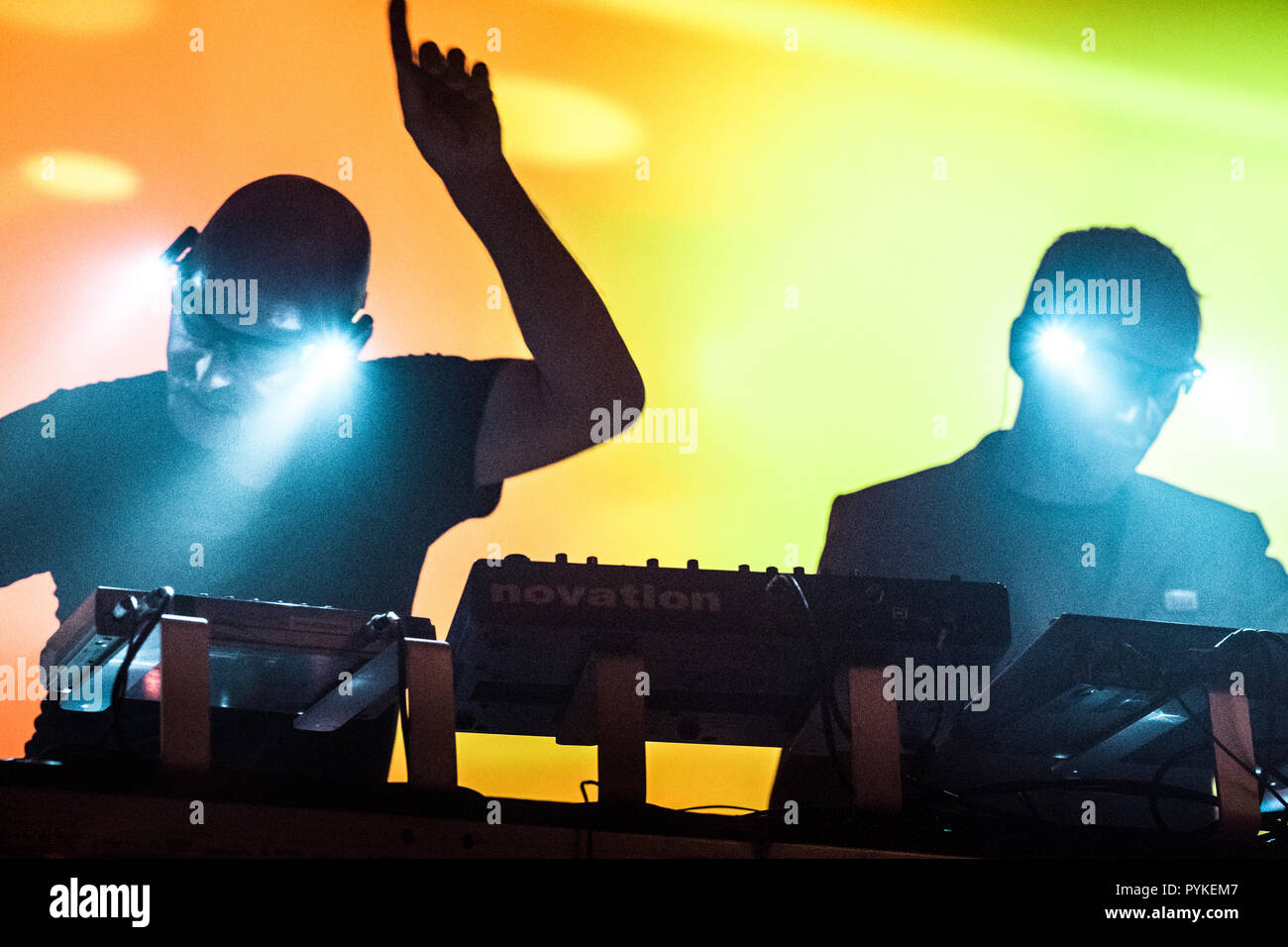 Denmark, Copenhagen - October 28, 2018. The English electronic music duo Orbital performs a live concert at VEGA in Copenhagen. (Photo credit: Gonzales Photo - Flemming Bo Jensen). Credit: Gonzales Photo/Alamy Live News - Stock Image