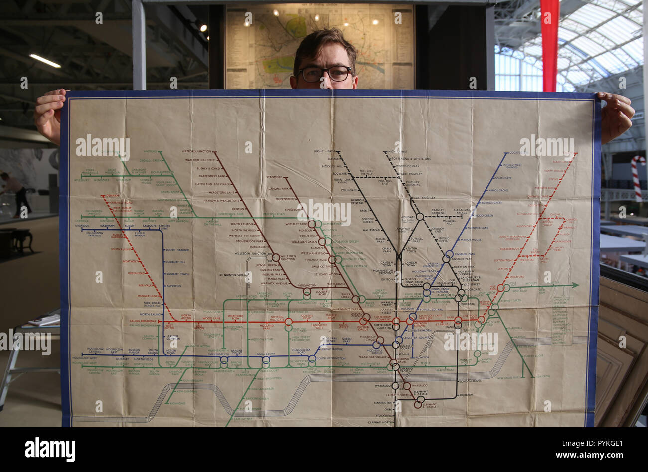 London UK 29 October 2018 Now in its 28th year the Winter and Art Fair will throw open its doors today to the thousands of collectors, connoisseurs, interior designers and canny ,early, Christmas shoppers,Seventy  leading UK dealers and over 20,000 objects of outstanding quality,will be on offer, Harry Beck's tube map from 1939 ,one of the only known  example to have survive for £24.500 @Paul Quezada-Neiman/Alamy Live News - Stock Image