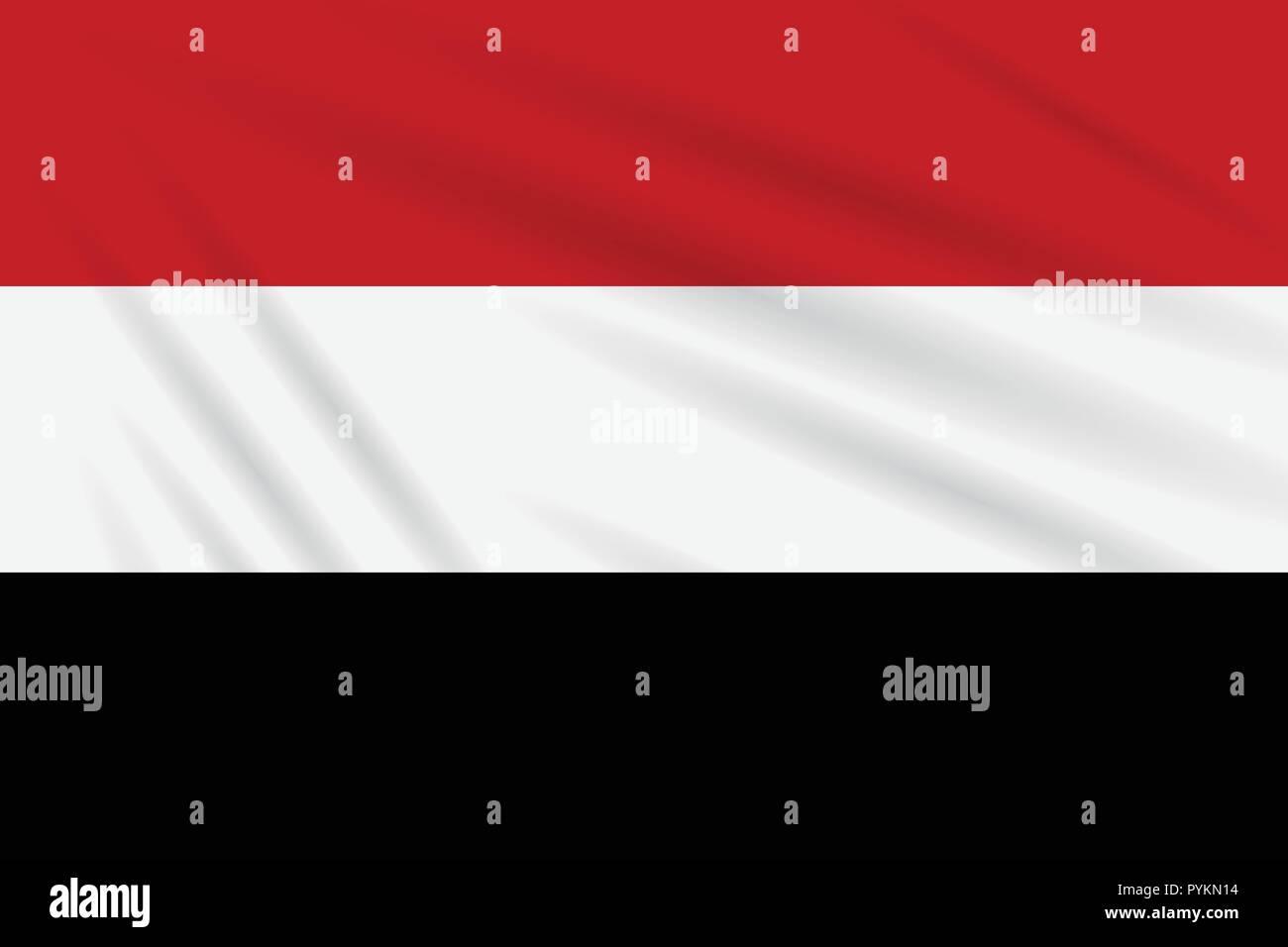 Flag Yemen swaying in wind, realistic vector. - Stock Vector