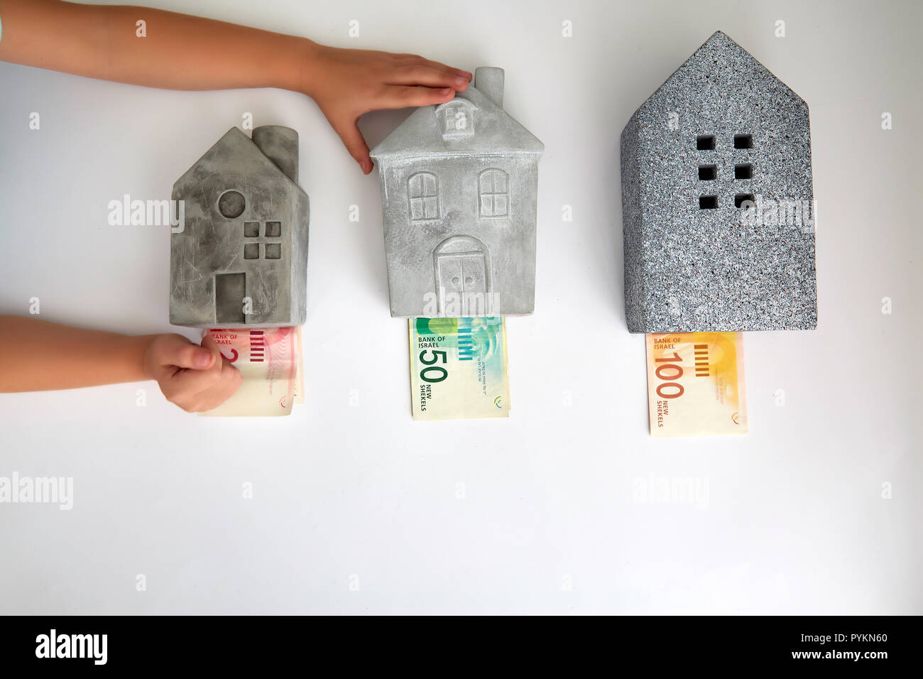 Different houses and price in Israeli currency Stock Photo