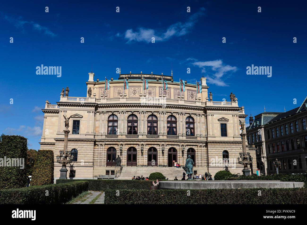 Gallerie Rudolfinum is a neo-renaissance state museum of contemporary visual arts located in Praque/Praha - Stock Image