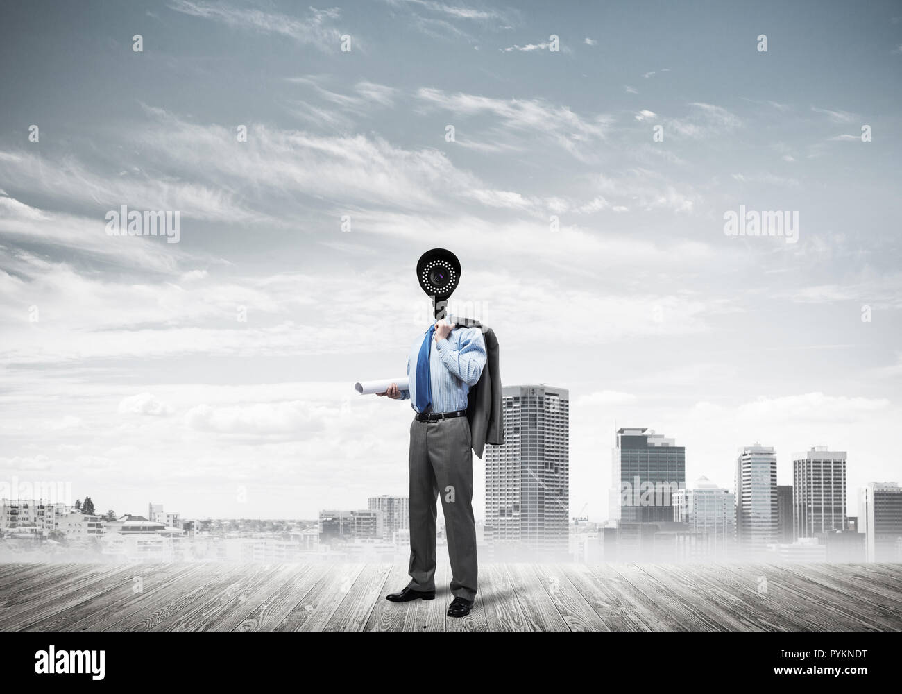 Concept of security and privacy protection with camera headed ma - Stock Image