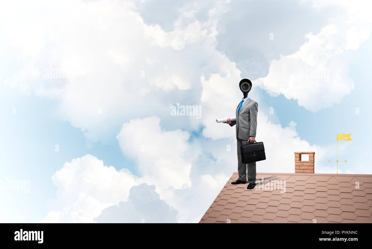 Concept of home security and privacy protection with camera headed man - Stock Image