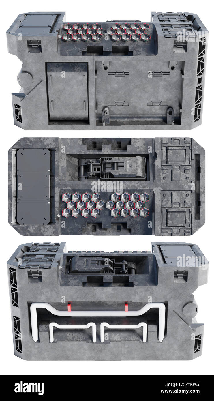 Top View with Right and Left Sides Views of a Technical Sci-Fi Box like a Power Container on a white background - Stock Image