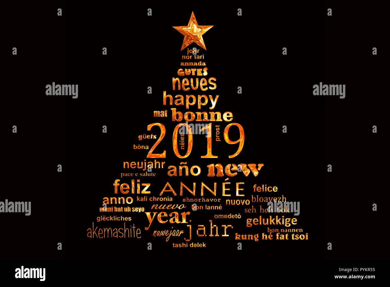 2019 new year multilingual text word cloud greeting card in the shape of a christmas tree - Stock Image