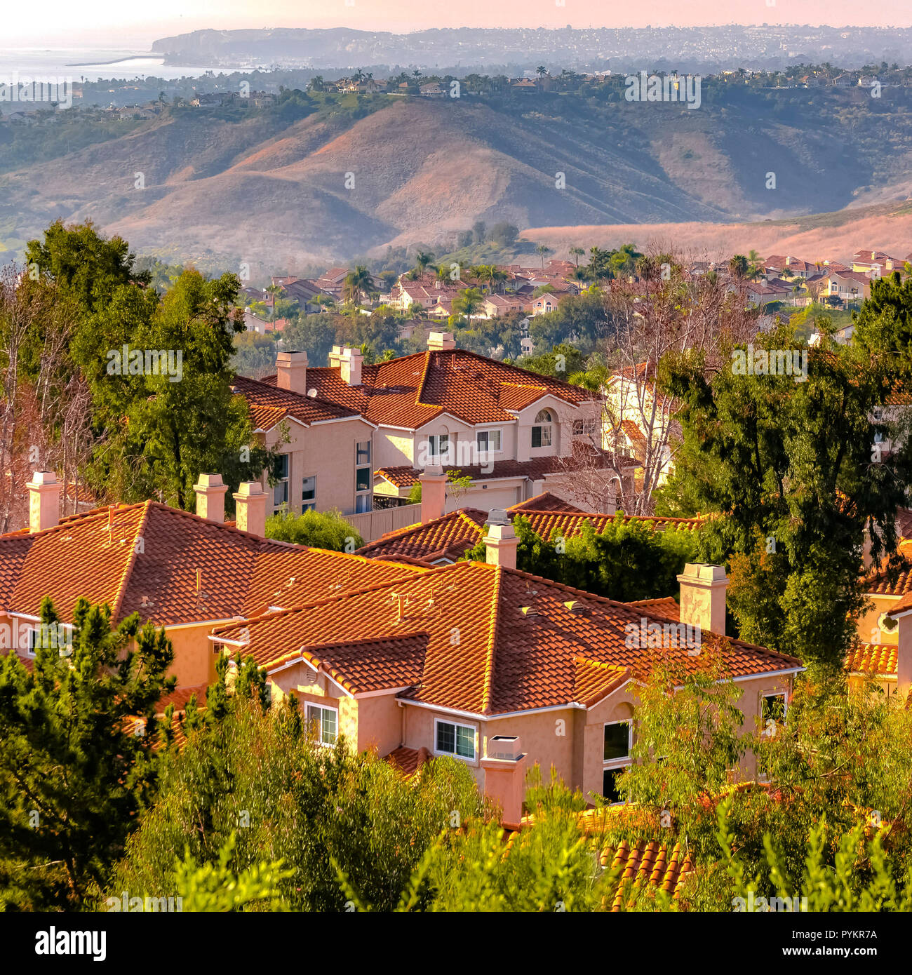 San Clemente homes with view of rolling hills Stock Photo