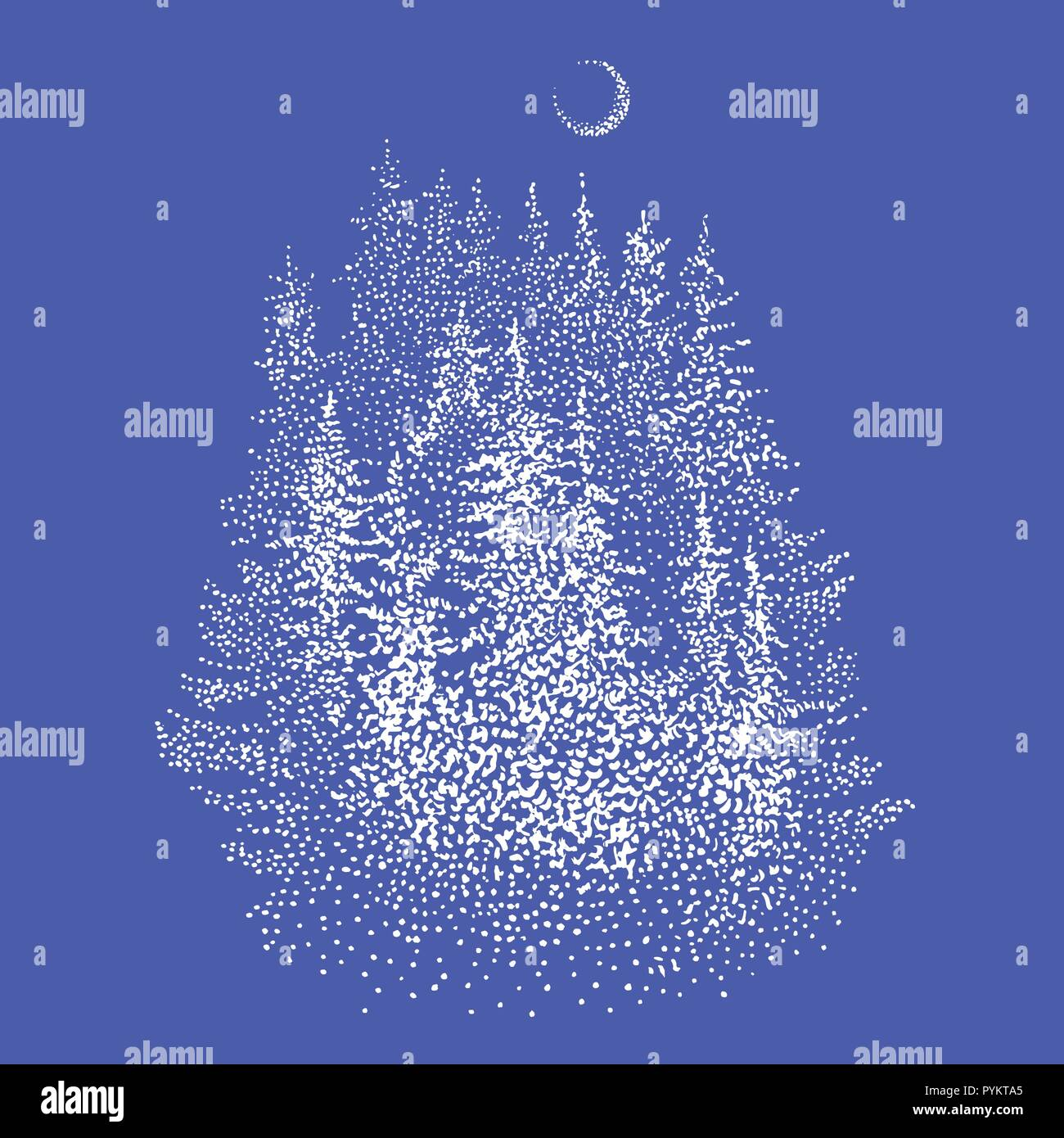 Spruce forest and waxing crescent moon. Hand drawn stippling or dotwork style sketchy graphic illustration in white color. Winter wonderland, wildlife symbol, Christmas greeting card, logo design. - Stock Vector