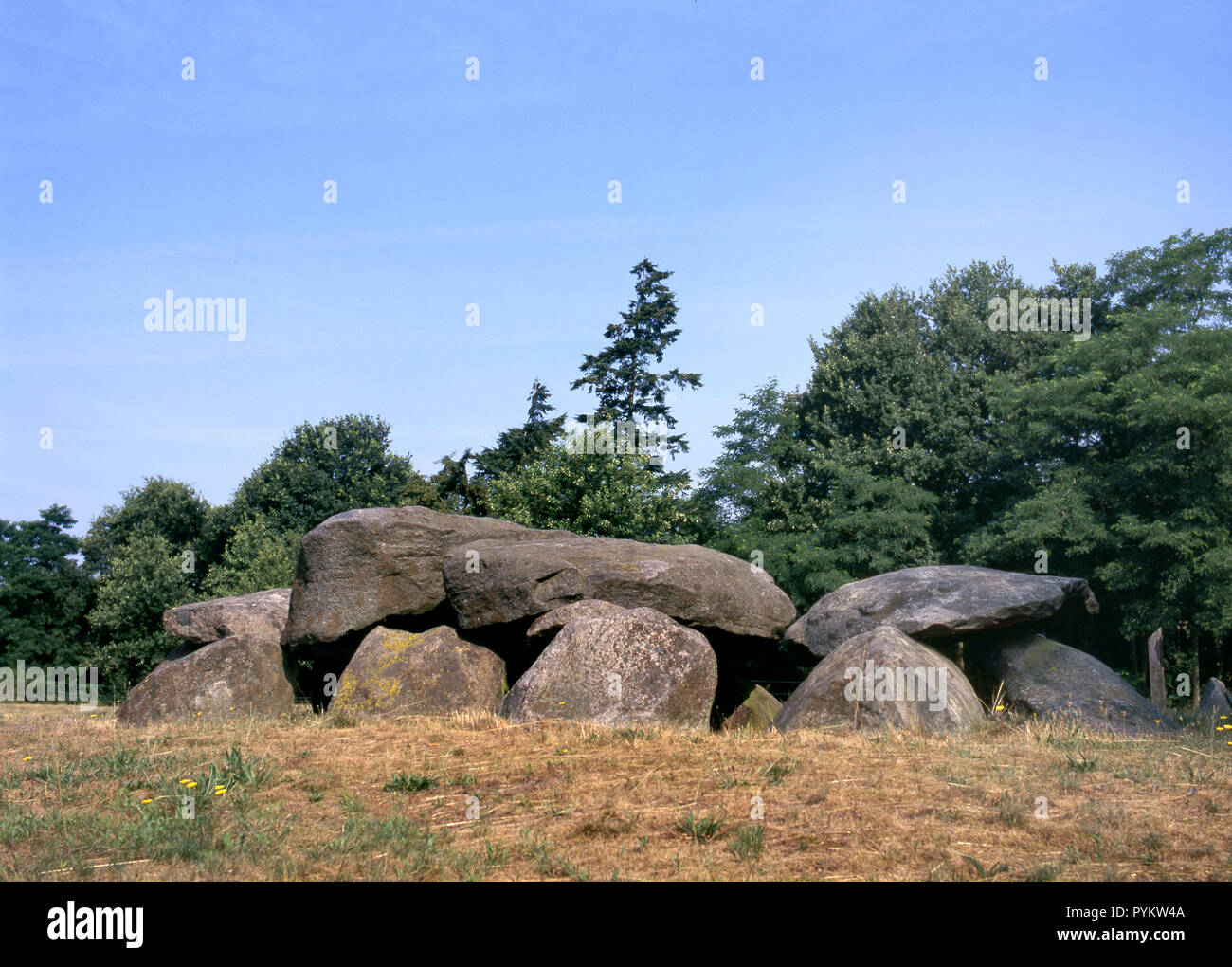Old stone grave like a big dolmen in Drenthe, Holland. It is called in Dutch a Hunebed. - Stock Image