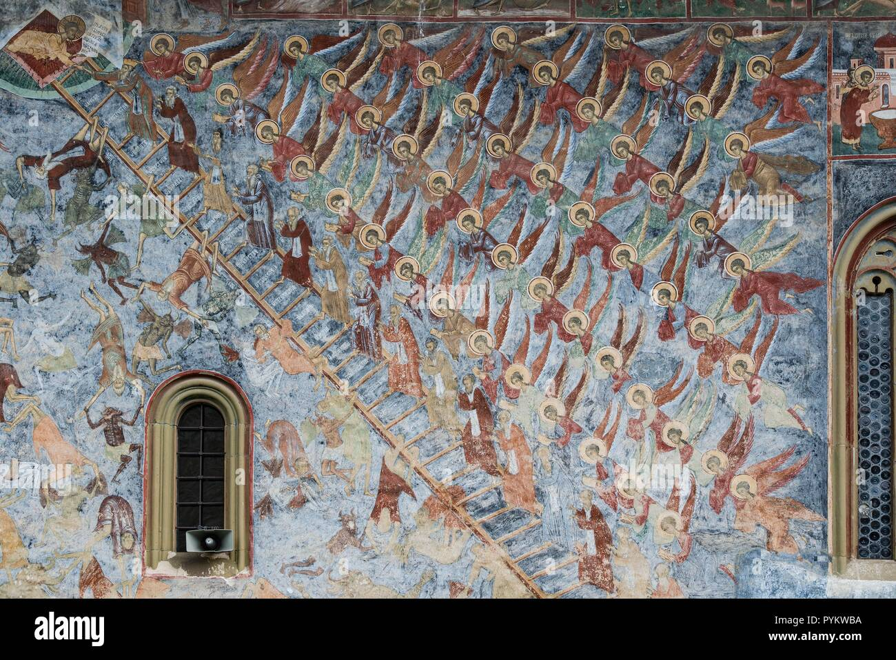 ROMANIA, SUCEVITA. Vivid illustration of the 'Stairway to Heaven' an episode from the Old Testament. - Stock Image