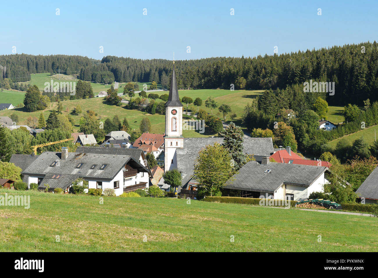 Schonwald im Schwarzwald, Baden-Wurttemberg, Germany, Europe - black forest village and birthplace of Franz Ketterer, German clockmaker - Stock Image