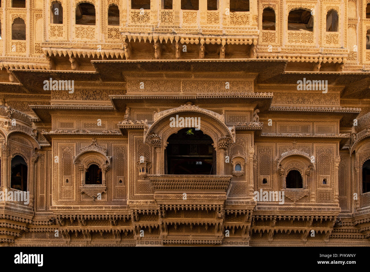 Nathmal ki Haveli Manor House, Jaisalmer, Rajasthan, India Stock Photo