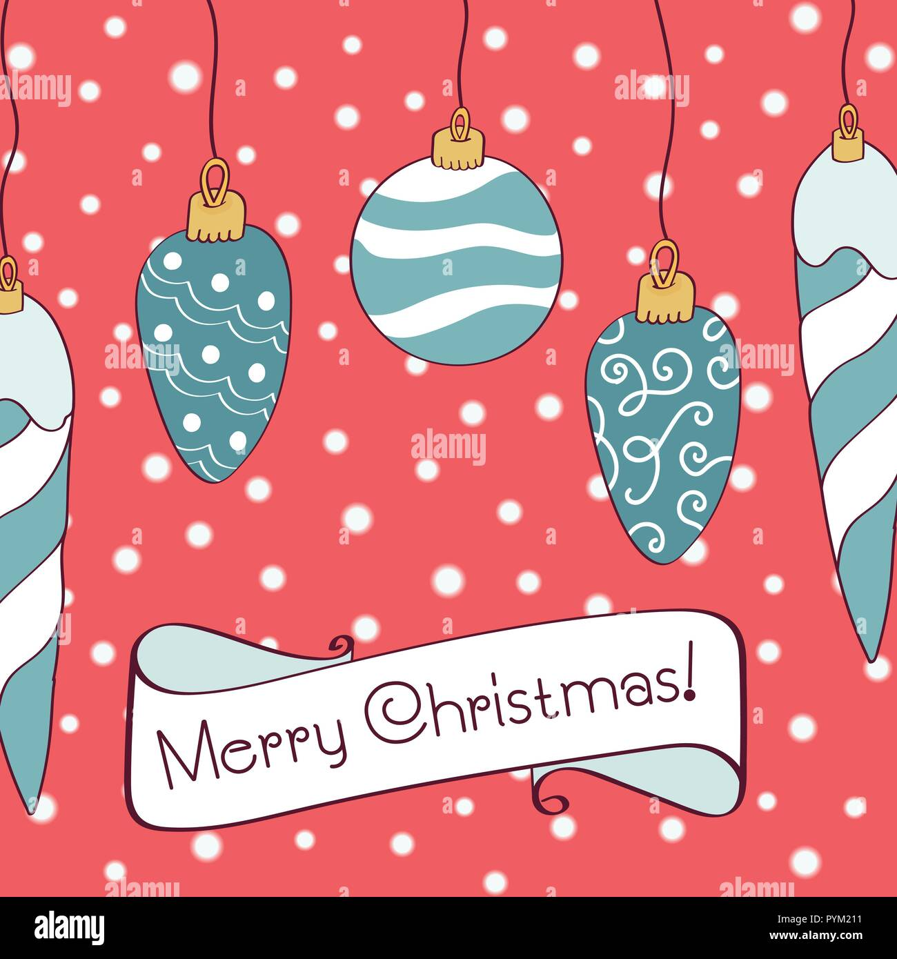merry christmas and new year typography cute holidays greeting card invitation poster and templates vector illustration