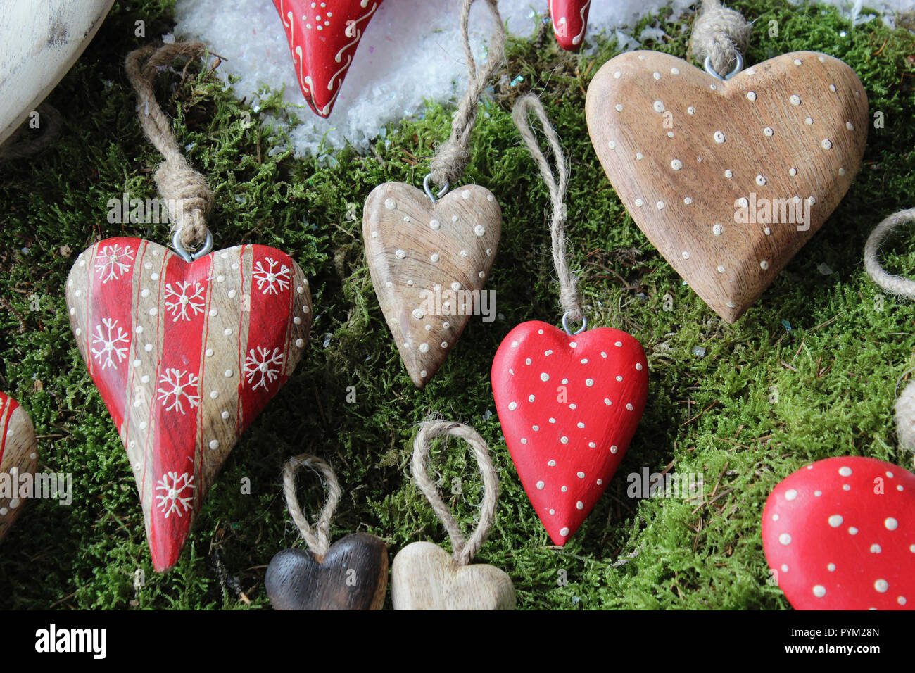 Festivals Christmas Cut Out Wooden Heart Decorations Stock Photo