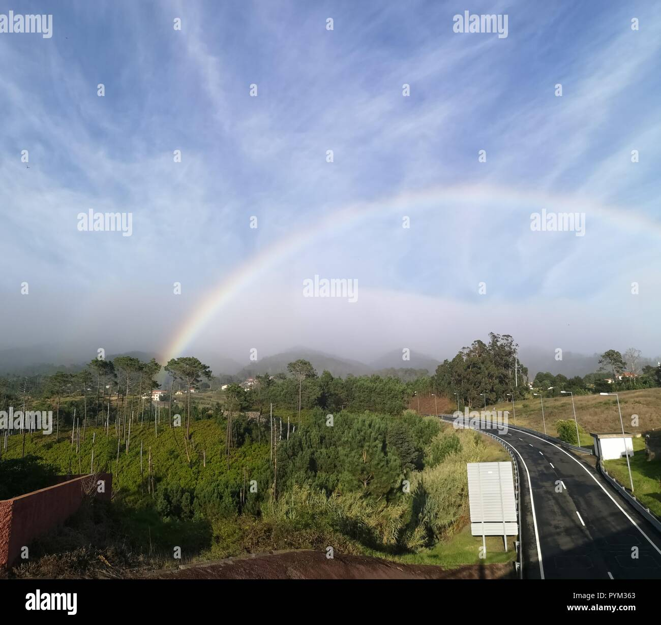 Rainbow in Madeira, Portugal - Stock Image