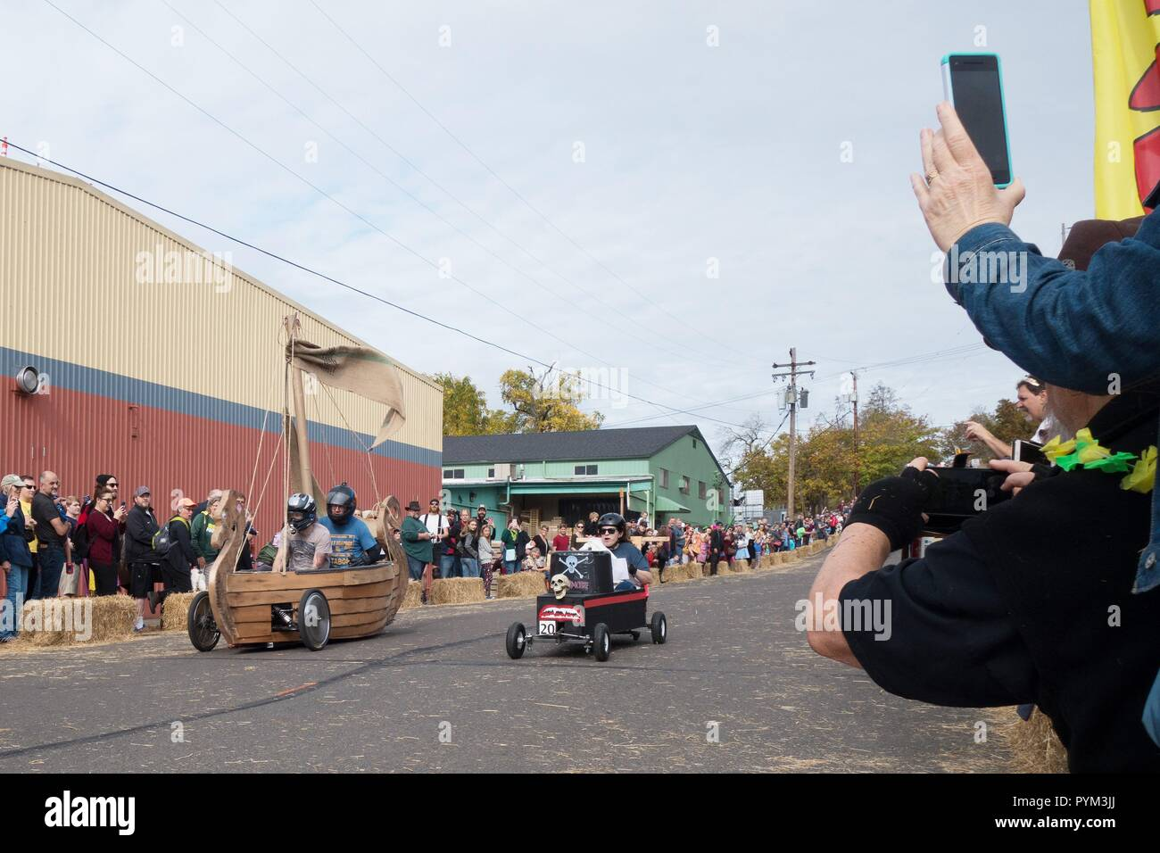 Halloween soapbox derby, at the Coffin Races in Eugene, OR, USA. - Stock Image