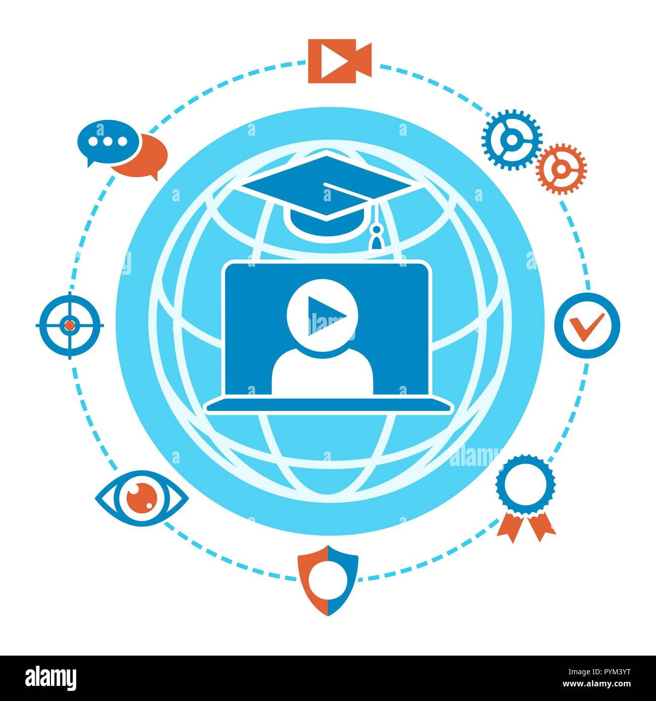 Webinar label. Webcasts and webinars livestream training and coach course recording technology vector emblem - Stock Image