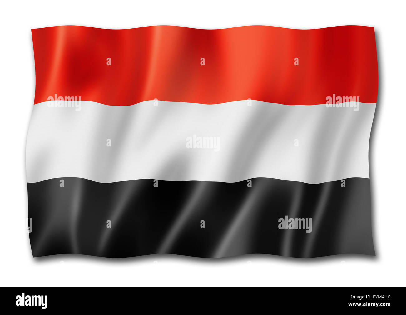 Yemen flag, three dimensional render, isolated on white Stock Photo
