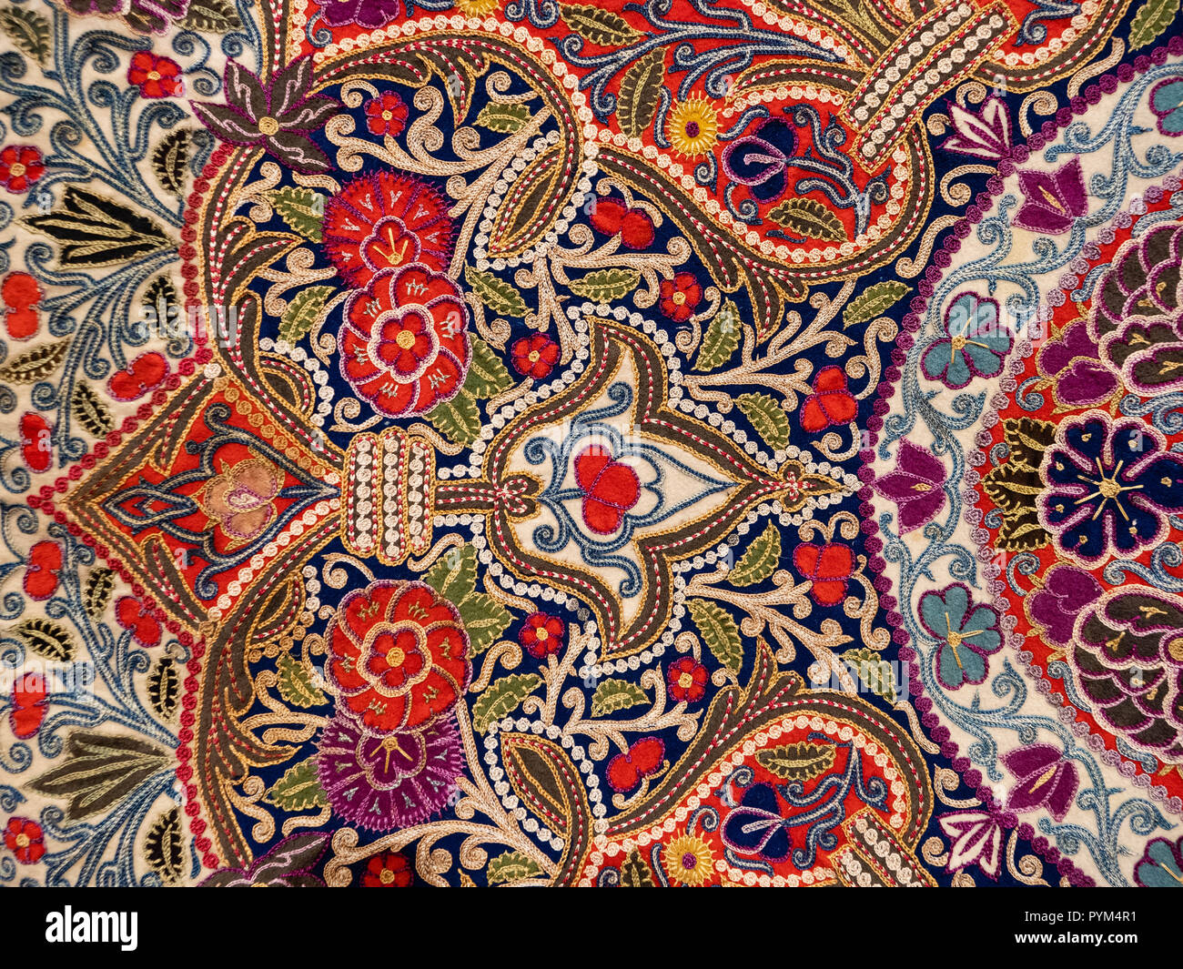 Detail of intricately embroidered Indian shawl housed in the Telfair Academy Museum in Savannah Georgia USA - Stock Image