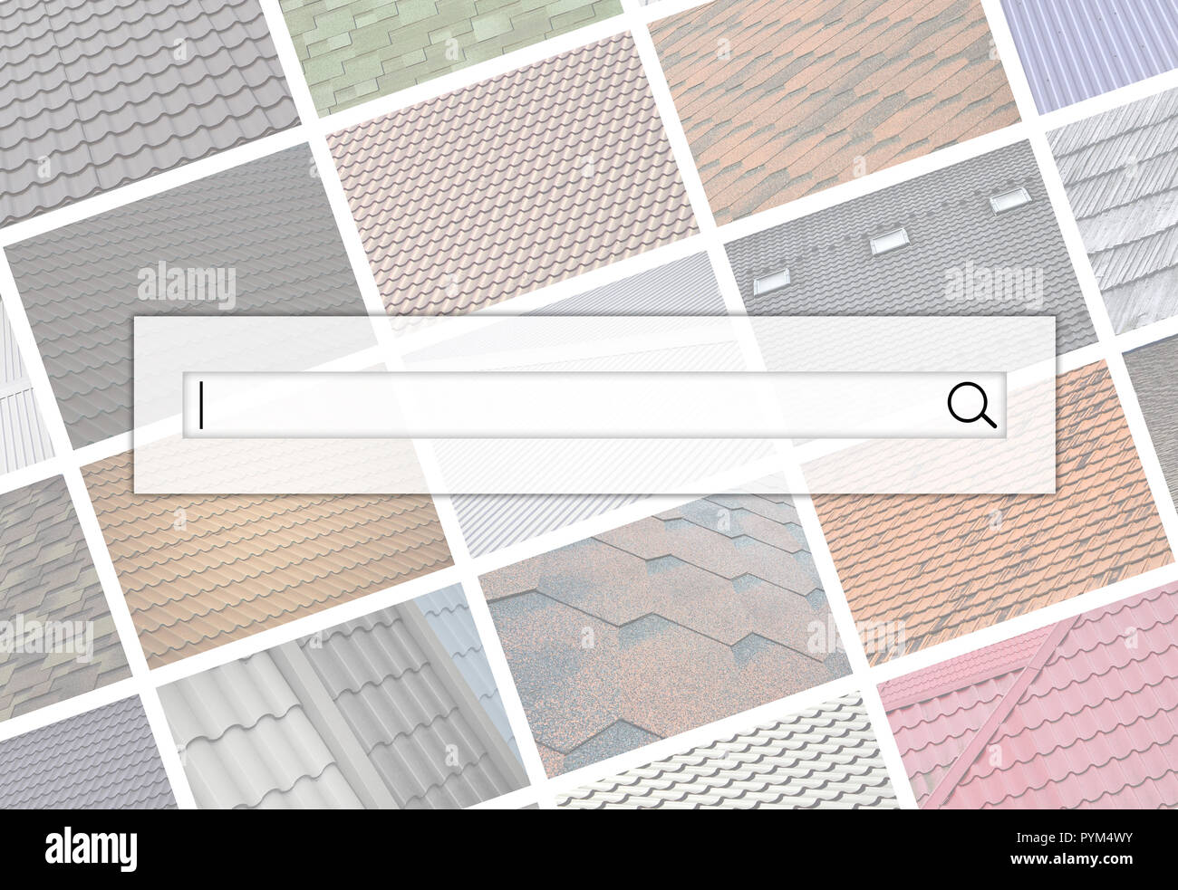Visualization of the search bar on the background of a collage of many pictures with fragments of various types of roofing. Set of images with roofs - Stock Image