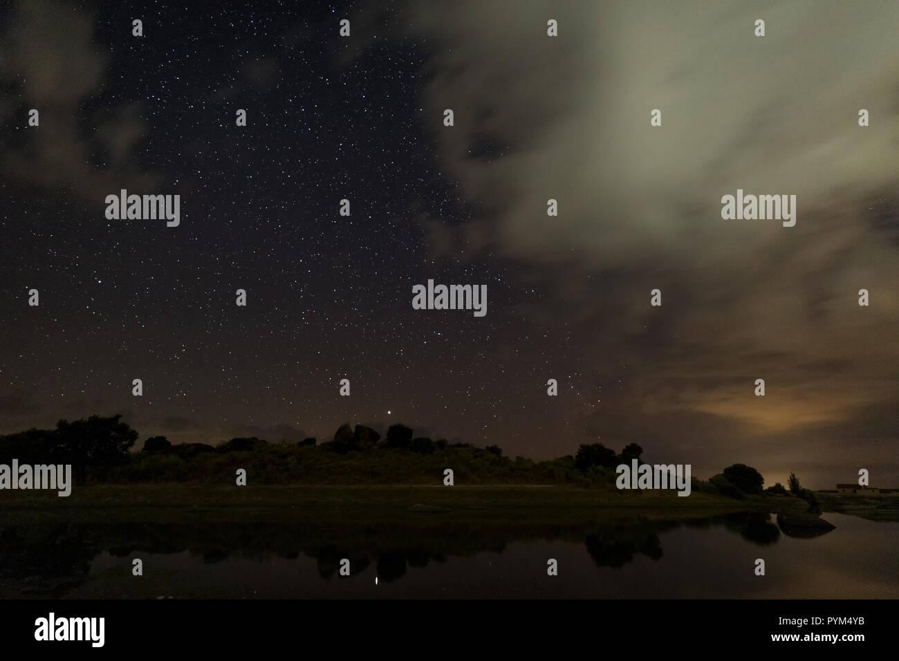 Night photography in Natural Area of Barruecos. Extremadura. Spain. Stock Photo