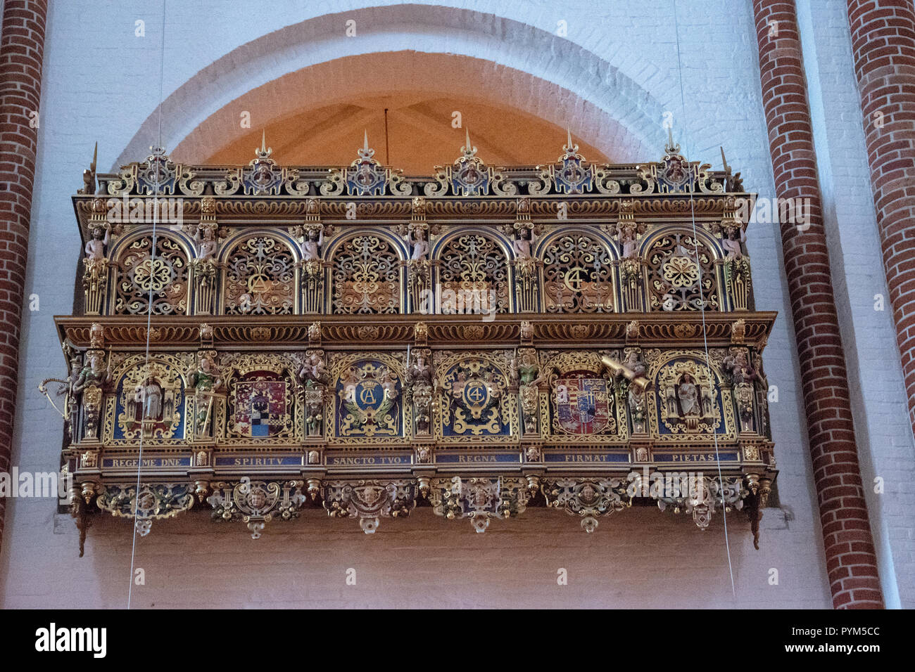 Private Box of King Christian 4. The box is divided by herms depicting the Christian virtues: Faith, Hope, Charity, Justice, Prudence, Fortitude and T Stock Photo