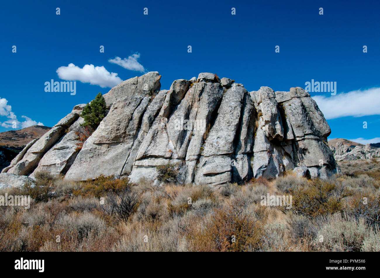 Joints in intrusive granite of the Almo Pluton in the City of Rocks National Reserve Idaho - Stock Image