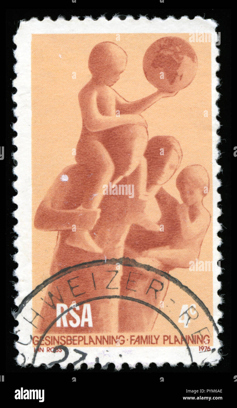 Postmarked stamp from South Africa in the Family Planning series issued in 1976 - Stock Image