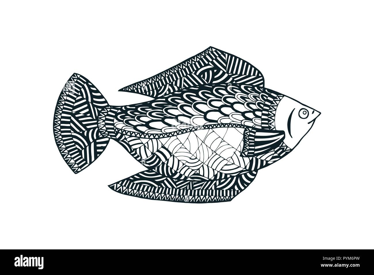 Fish vector illustration  Underwater world  Tangle pattern
