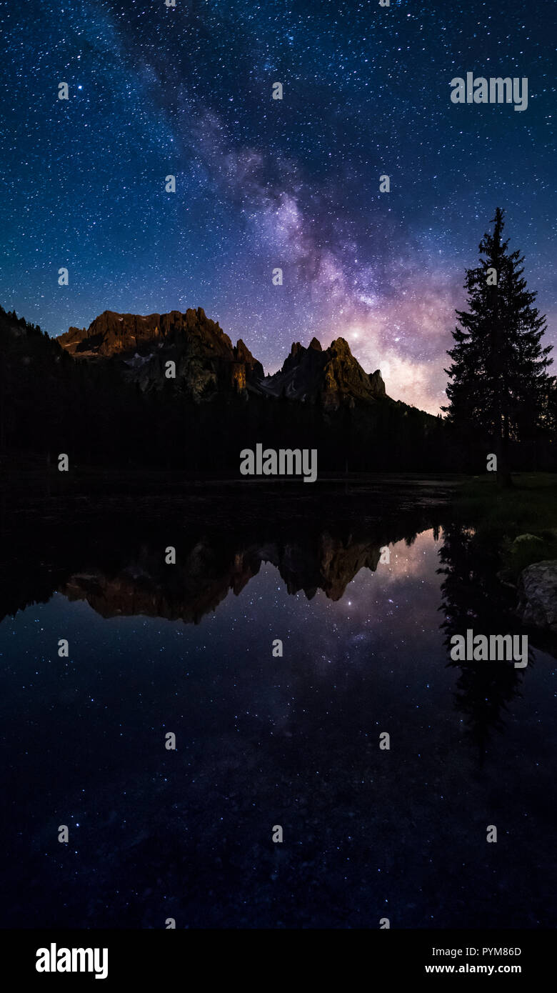 Mliky way reflection over lake Antorno, Dolomites, Italy - Stock Image