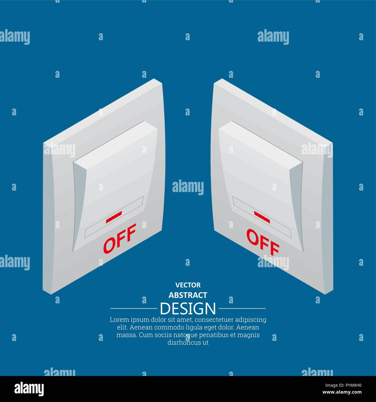 Isometric icons of electrical light wall switch in the off mode. Toggle switch. Vector element of graphic design - Stock Vector