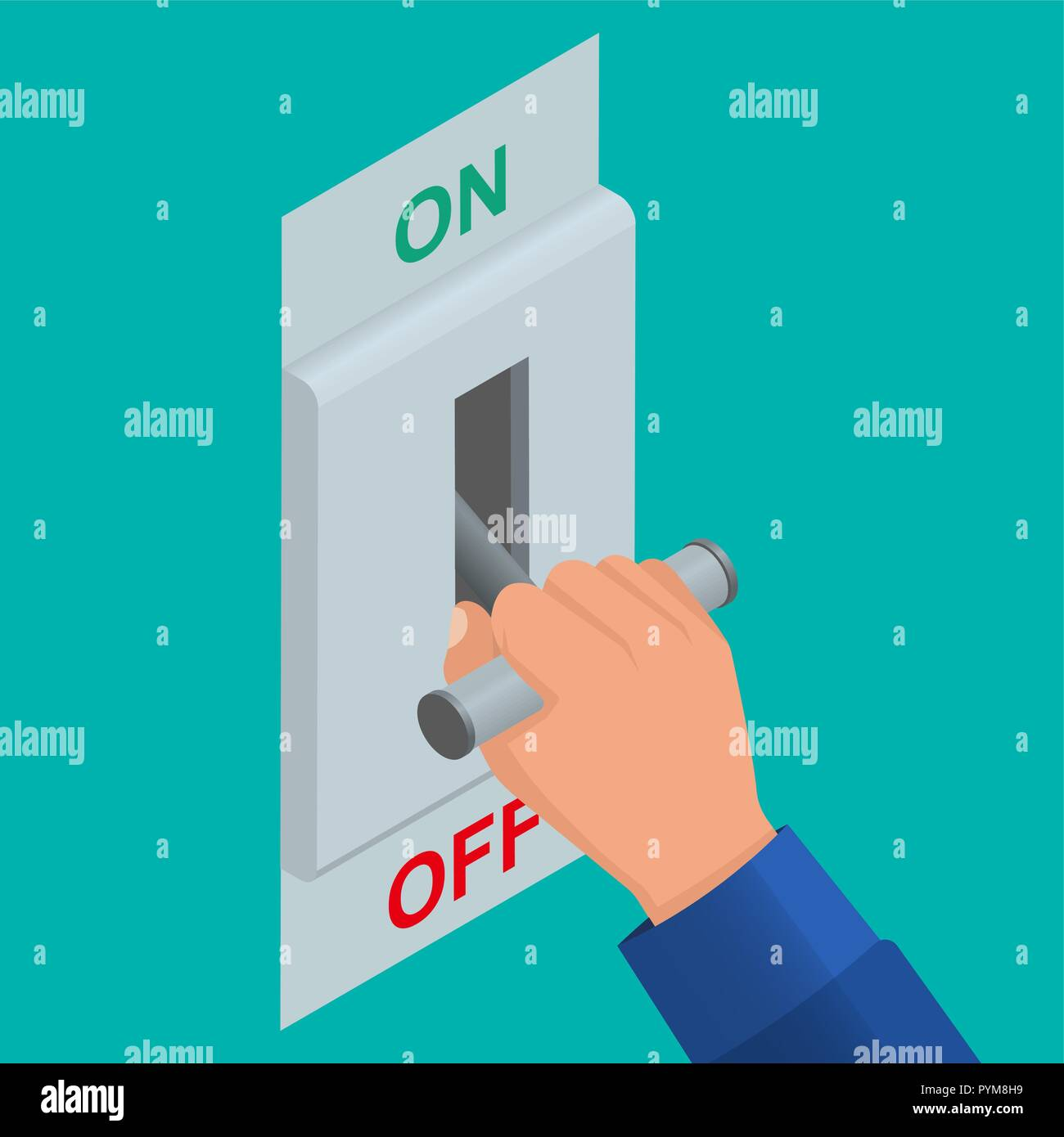 Isometric icon of electric knife switch in the off position. Toggle switch. High voltage. Electrical circuit is enabled. Power station. Danger. Vector - Stock Vector
