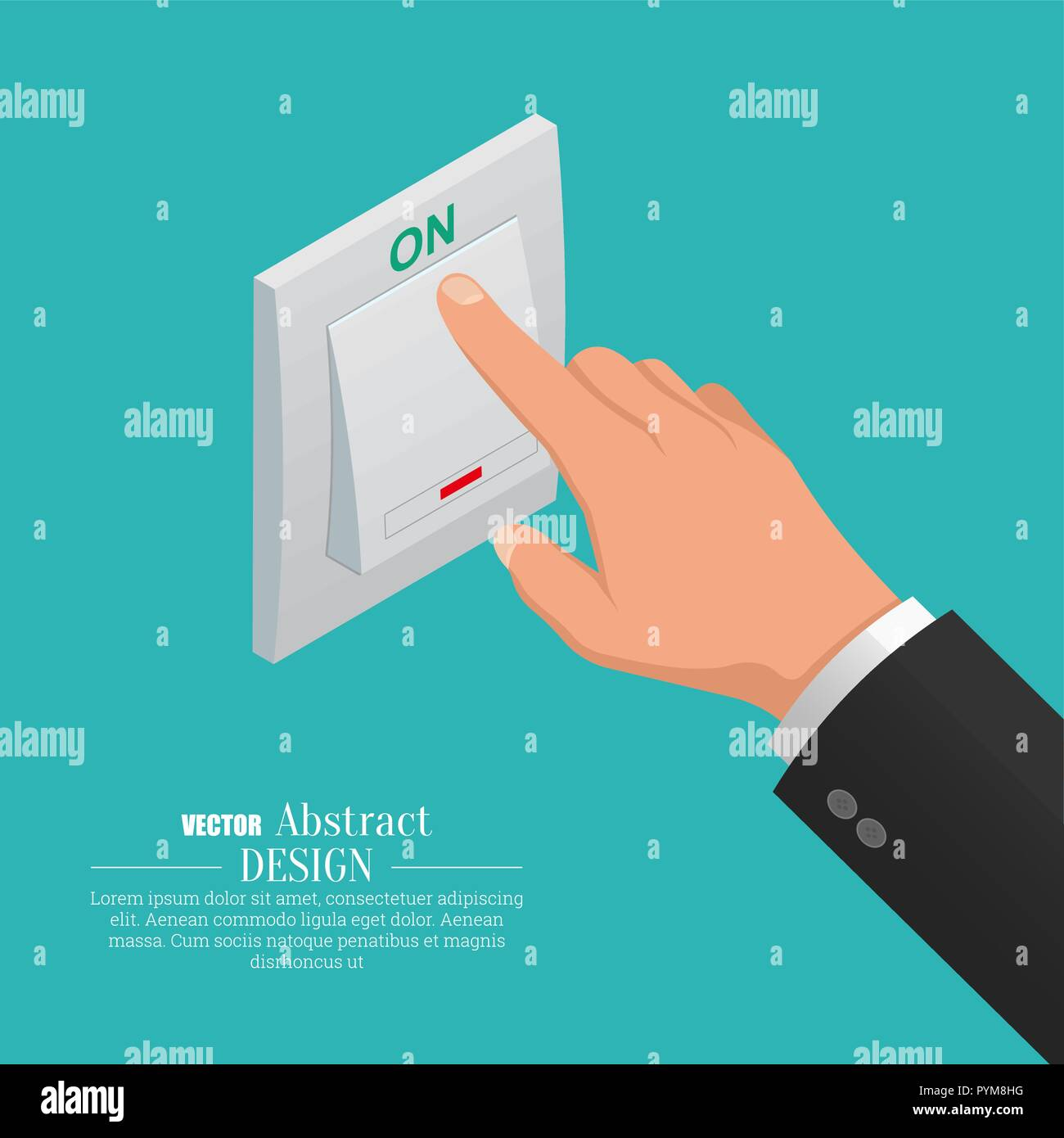 The hand turns on light switch. A vector isometric illustration for a poster, advertizing. - Stock Vector