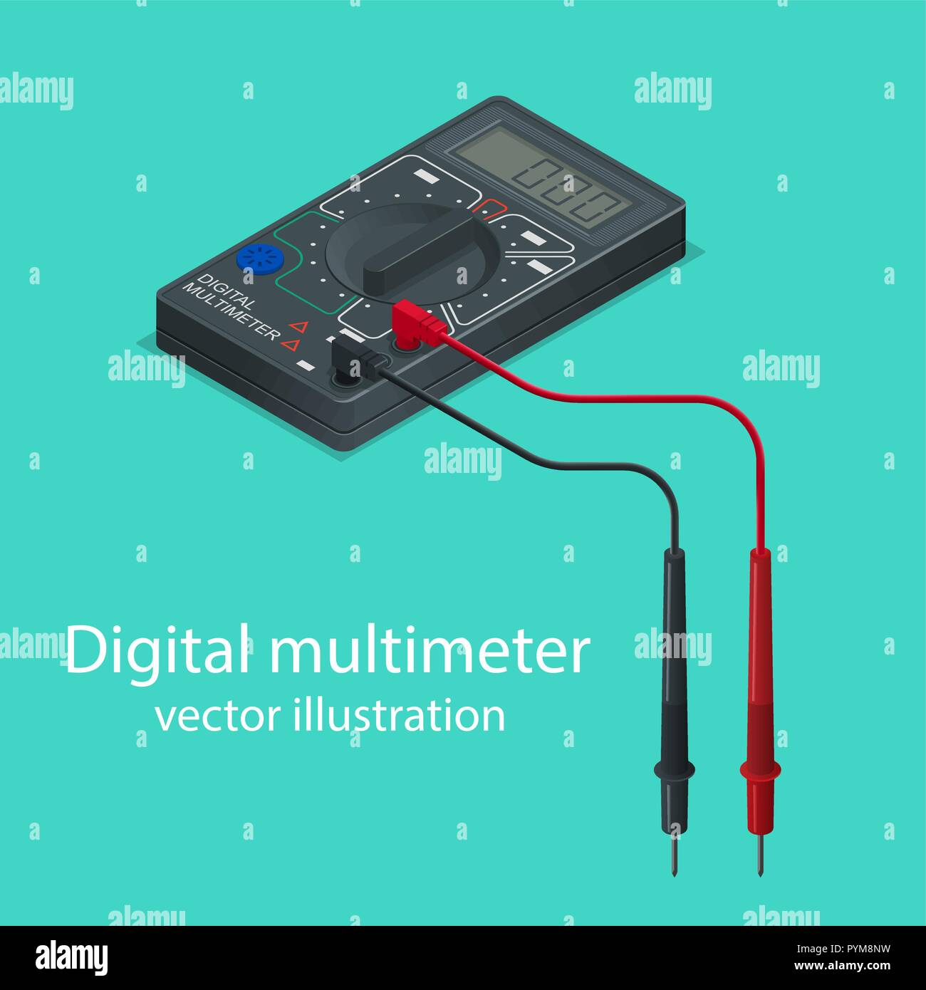 Electricity Meter Digital Stock Vector Images Alamy Schematic Diagram Of Dashboard Voltmeter Multimeter The Measuring Device In Isometric Style Realistic Illustration