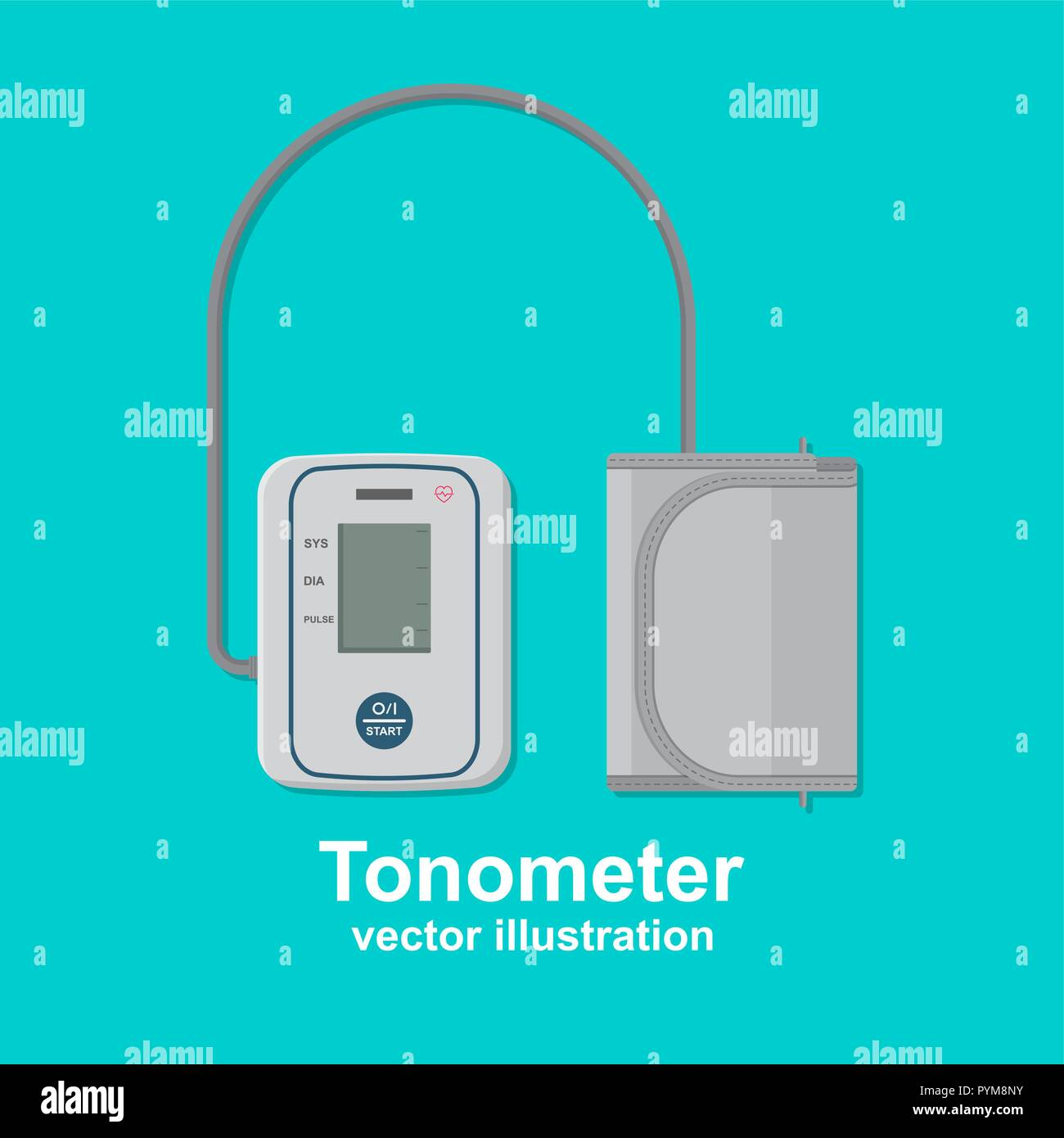 Digital tonometer. Icon of the device for measurement of arterial pressure. A vector illustration in flat style. - Stock Image