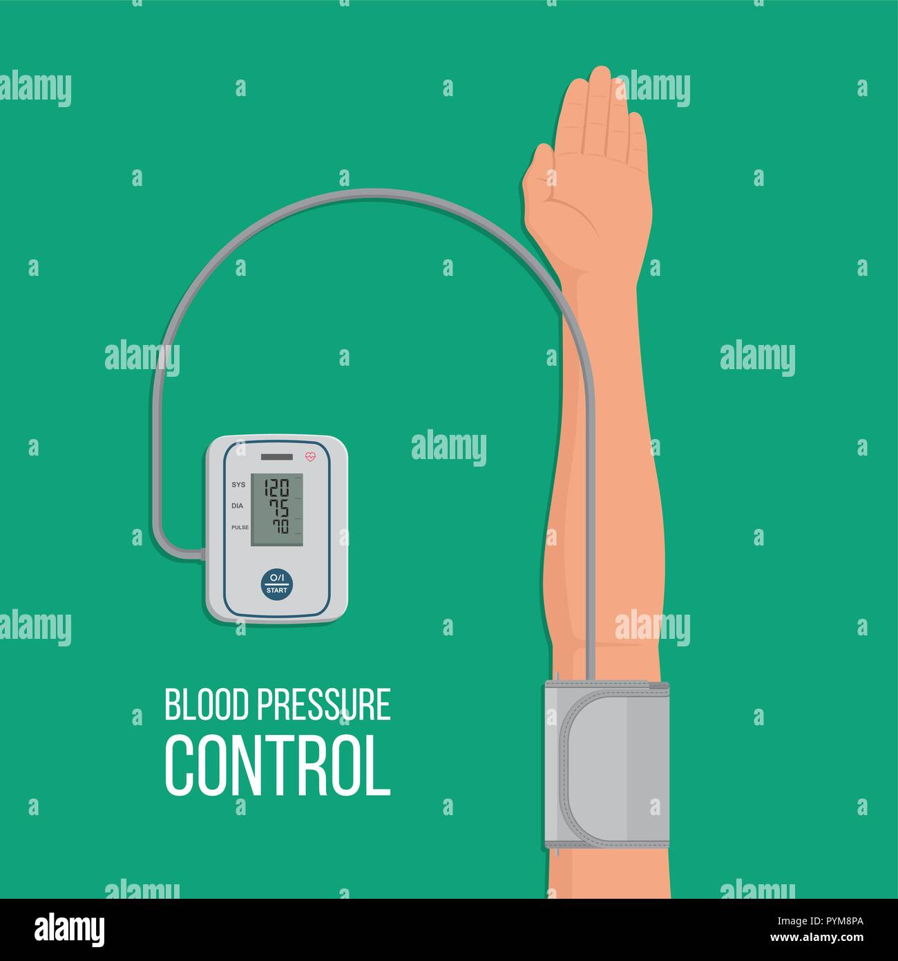 Digital tonometer who is put on an arm. The device measures arterial pressure at the person. Prophylaxis of hypertensive and atonic diseases. Pulse co - Stock Image